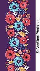 colorito, verticale, mazzolino, modello, seamless, fiori, bordo