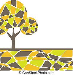 colorito, vettore, autunno, albero.