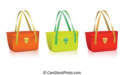 colorito, vettore, borse