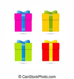 colorito, vettore, presente, scatola, scatola regalo, set