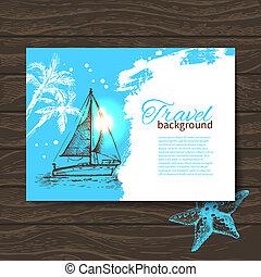 colorito, viaggiare, mano, tropicale, schizzo, goccia, fondo, disegnato, design.