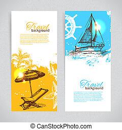 colorito, viaggiare, sfondi, tropicale, schizzo, goccia, bandiere, design.