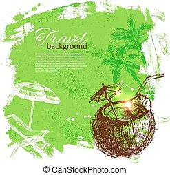 colorito, viaggiare, tropicale, schizzo, goccia, fondo, design.