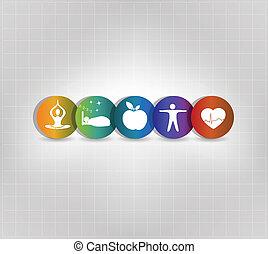 colorito, vivendo sano, icone concetto