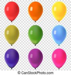 colorito, volare, isolato, collezione, fondo, vettore, illustrazione, palloni, trasparente