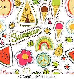 colorito, wigwam, arcobaleno, felice, estate, limone, ghiaccio, pattern., sole, farfalla, seamless, crema, pezze, vettore, ricamo, clower, pacifico, fragola, anguria, ananas, sorriso