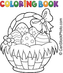 coloritura, 1, tema, libro, cesto, pasqua