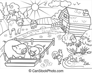 coloritura, animali, adulti, fattoria, vettore, paesaggio rurale