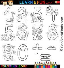 coloritura, animali, numeri, cartone animato
