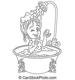 coloritura, bagno, ragazza, pagina