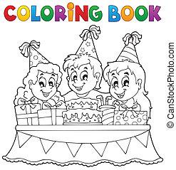 coloritura, bambini, 1, tema, libro, festa
