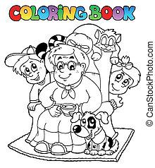 coloritura, bambini, libro, nonna