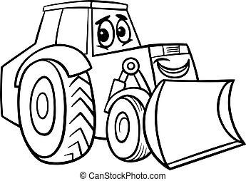 coloritura, bulldozer, libro, cartone animato