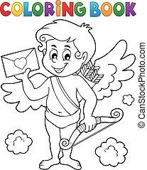 coloritura, busta, libro, cupido, presa a terra
