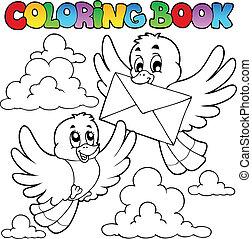 coloritura, busta, libro, uccelli
