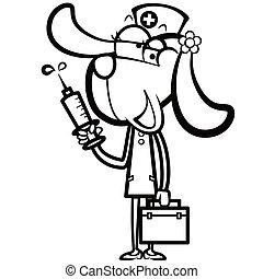coloritura, cane, kit, siringa, aiuto, infermiera, cartone animato, primo