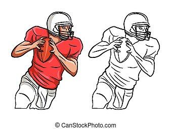 coloritura, carattere, libro, football