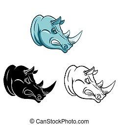 coloritura, carattere, libro, rinoceronte