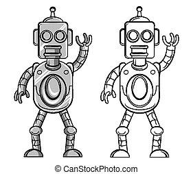 coloritura, carattere, libro, robot