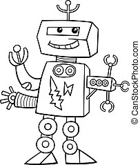 coloritura, cartone animato, robot, pagina