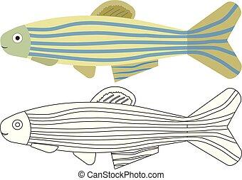 coloritura, cartoon., fish, book., attività, children.