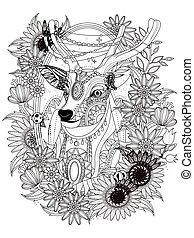coloritura, cervo, pagina, splendido