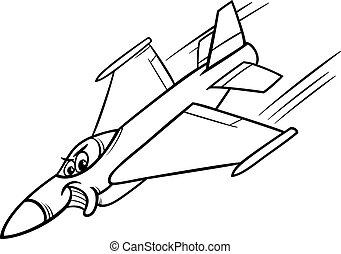 coloritura, combattente, pagina, aereo, jet