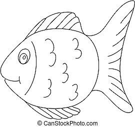 coloritura, contorno, fish, libro, 2., pagina, clipart.