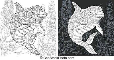 coloritura, delfino, pagina
