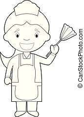 coloritura, domestica, illustrazione, cartone animato, girl., vettore, pulizia, facile, o