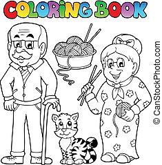 coloritura, famiglia, 2, libro, collezione