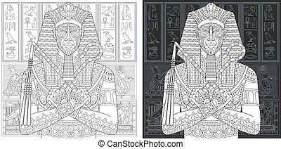 coloritura, faraone, pagine, egiziano