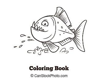 coloritura, fish, piranha, cartone animato, vettore, libro