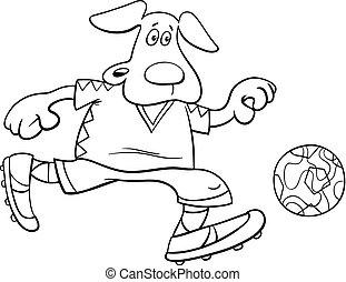 coloritura, football, carattere, cane, giocatore, libro