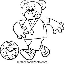 coloritura, football, carattere, orso, giocatore, libro