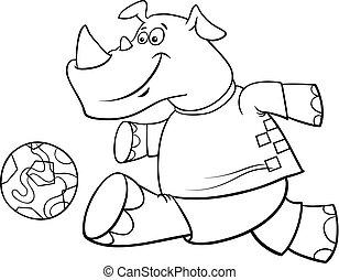 coloritura, football, carattere, rinoceronte, giocatore, libro