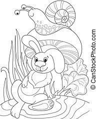 coloritura, fungo, lumaca, animale, nature., coniglio, sotto, amici, cartone animato, childrens