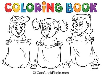 coloritura, gioco, 1, tema, libro, bambini