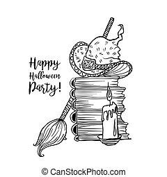 coloritura, halloween, accessori, libro, disegno, strega, vacanza, pagina, felice