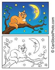coloritura, illustration., bugie, moon., book., gatto, parlare, vettore, ramo, rosso