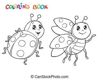 coloritura, illustration., isolato, vettore, ladybug., white., libro