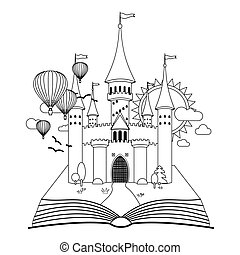 coloritura, immagine, fiaba, vettore, castello, libro
