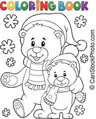 coloritura, inverno, orsi, 1, tema, libro