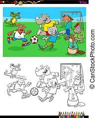 coloritura, libro animale, caratteri, calcio, gioco