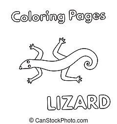 coloritura, lucertola, libro, cartone animato
