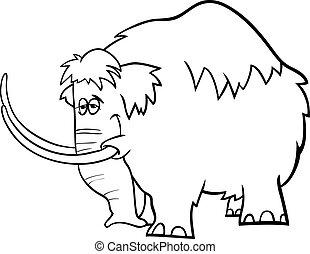 coloritura, mammut, cartone animato, pagina