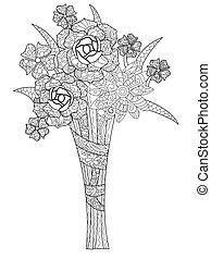 coloritura, mazzolino, tre, illustrazione, rose, vettore, libro