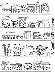 coloritura, mensole, cibo, dolce, utensili, b, tuo, cucina