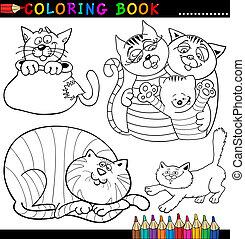 coloritura, o, libro, gatti, cartone animato, pagina