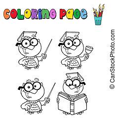coloritura, pagina, con, gufo, insegnante